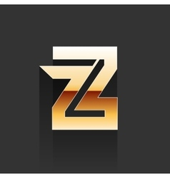 Gold letter z shape logo element vector