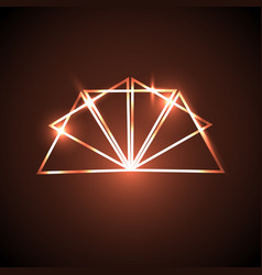 Abstract background with orange neon triangles vector