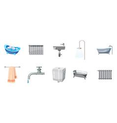 bathroom icon set cartoon style vector image vector image