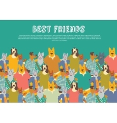 Cats and dogs pets friends big group friendship vector