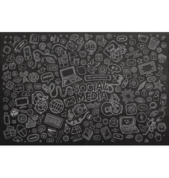 Chalkboard line art doodle cartoon set of vector