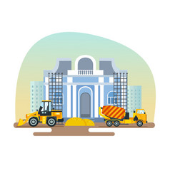 construction of museum with help equipment vector image vector image