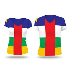 Flag shirt design of central african republic vector