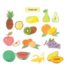 Fruits set detailed vector
