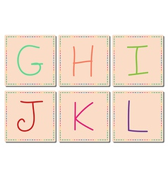 G to L alphabets set 2 vector image