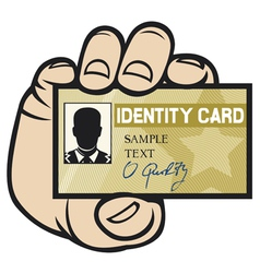 hand holding ID card vector image vector image