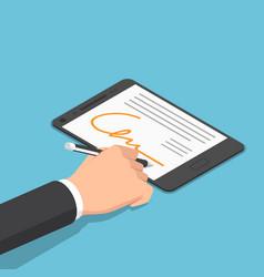 Isometric businessman hand signing digital vector