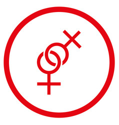 lesbian love symbol rounded icon vector image