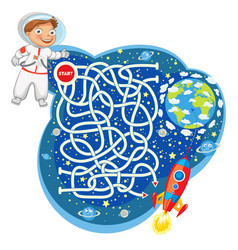 Maze game with solution funny cartoon character vector