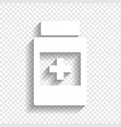 Medical container sign white icon with vector