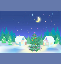 New year night in wood vector