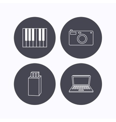 Photo camera USB flash and notebook laptop vector image vector image