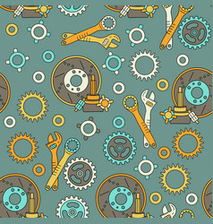 Seamless pattern with mechanical components vector