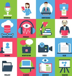 Set flat icons of business learning vector
