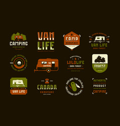 set of label and logo design for camping lifestyle vector image