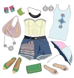 Summer clothes collection for young women and girl vector image