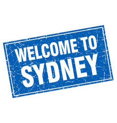 Sydney blue square grunge welcome to stamp vector