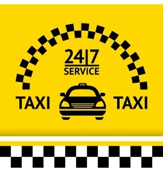Taxi symbol and car on the background vector image