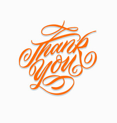thank you hand written lettering card vector image