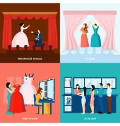 Theater 4 flat icons square banner vector