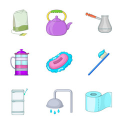 Washroom icons set cartoon style vector