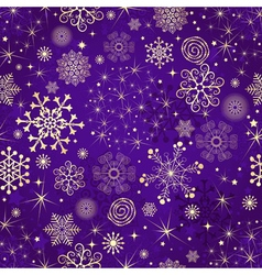 Winter violet seamless pattern with gold snowflake vector
