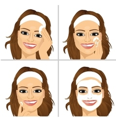 Woman showing four steps for cleaning face vector