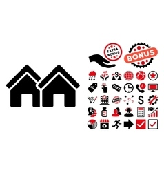 Houses flat icon with bonus vector