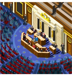 Election infographic parliament hall isometric vector
