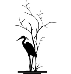 Heron and tree silhouette vector