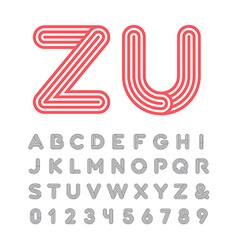 Linear font alphabet with stripes effect letters vector image
