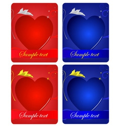 set of card with hearts vector image