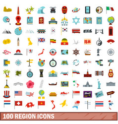 100 region icons set flat style vector
