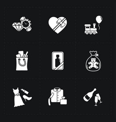 Gift flat contour shop icon set on black vector