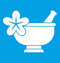 Mortar and pestle pharmacy icon white vector