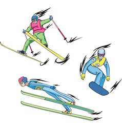 Ski jumping freestyle skiing and snowboarding vector