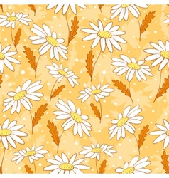 Beautiful camomile flowers seamless pattern yellow vector image