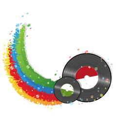 Rainbow and vinyl records vector