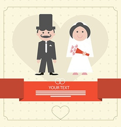 Retro flat design wedding card vector