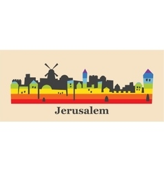 Jerusalem skyline colored with gay flag colors vector