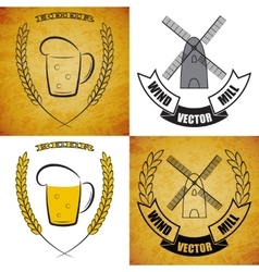 Windmill and mug of beer set on different vector
