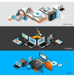 E-learning isometric banners vector