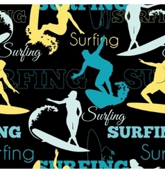 Surfing people california blue yellow black vector