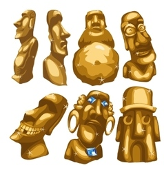 Seven maya sculptures from gold isolated vector