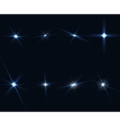 Light glow flare stars effect set on transparent vector