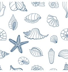 Sea shells blue and white vector