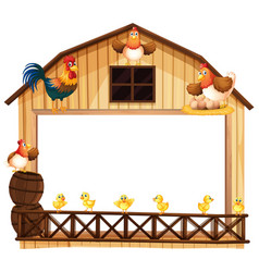 background design with chickens on the barn vector image