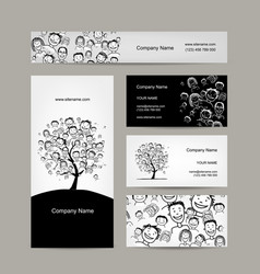 Business cards design people tree vector