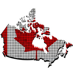 Canada grunge map with flag inside vector