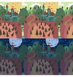 Cartoon castle on a hill vector